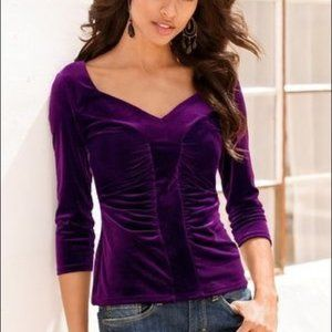 Boston Proper Purple Velvet Popover Stretch Top